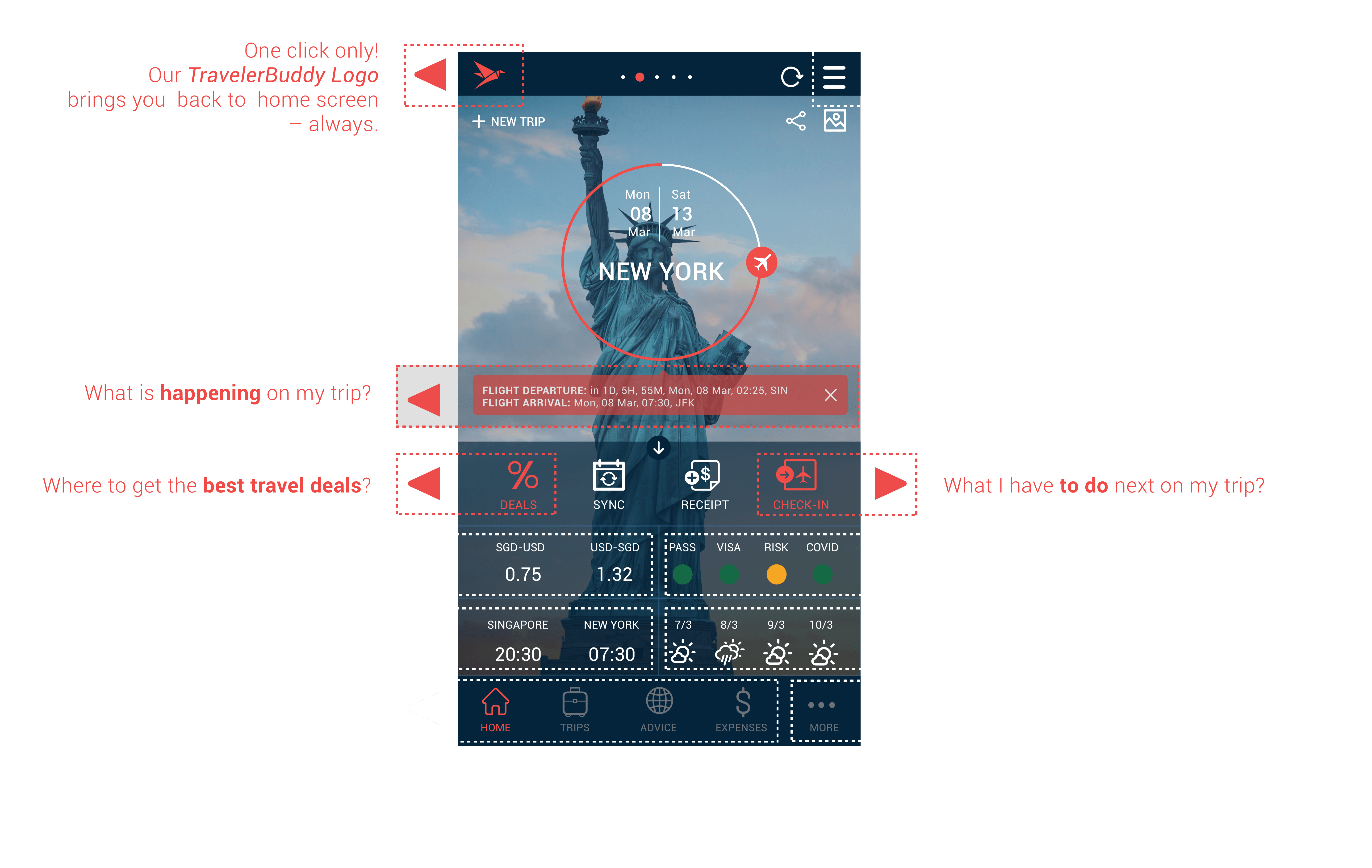 travelerbuddy new app homescreen
