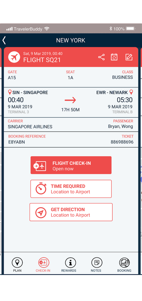 travelerbuddy features online flight checkin